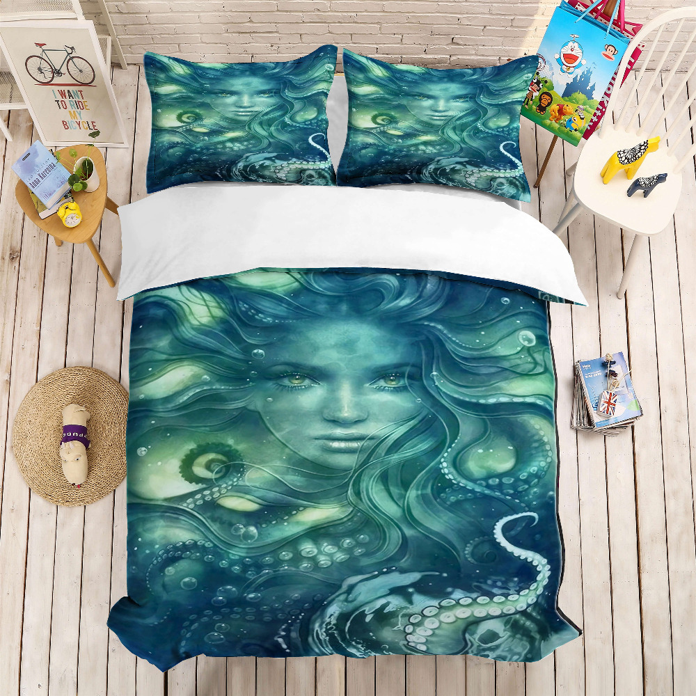 MUSOLEI 3D Duvet Cover Set dark green Mermaid and waving Octopus .Soft Bed Bedding Set Twin Queen King SizeMUSOLEI 3D Duvet Cover Set dark green Mermaid and waving Octopus .Soft Bed Bedding Set Twin Queen King Size