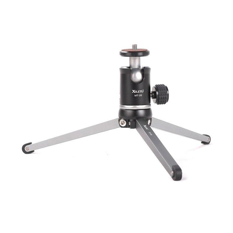 Ulanzi XILETU MT26 + XT15 Mini trípode de Metal con bola desmontable la cabeza 360 grados de rotación de aleación de aluminio del trípode para GoPro DSLR