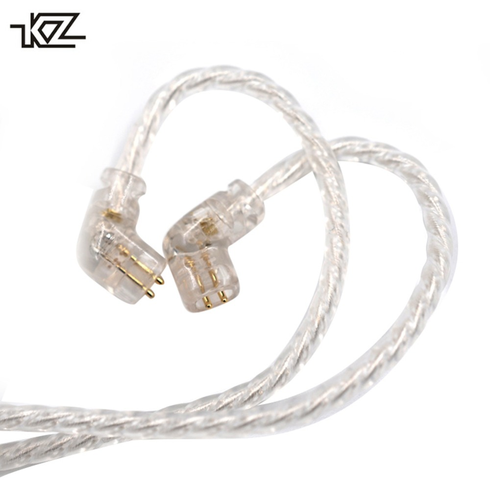 KZ ZSN Headphones Silver Cable plated upgrade cable 2PIN gold-plated pin 0.75mm high purity oxygen free copper Earphone Cable