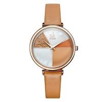 Shengke K0109L Quartz Wrist Watches SK HOT Watches Women leather strap dress Sliver Ladies Rhinestone Waterproof Reloj Mujer