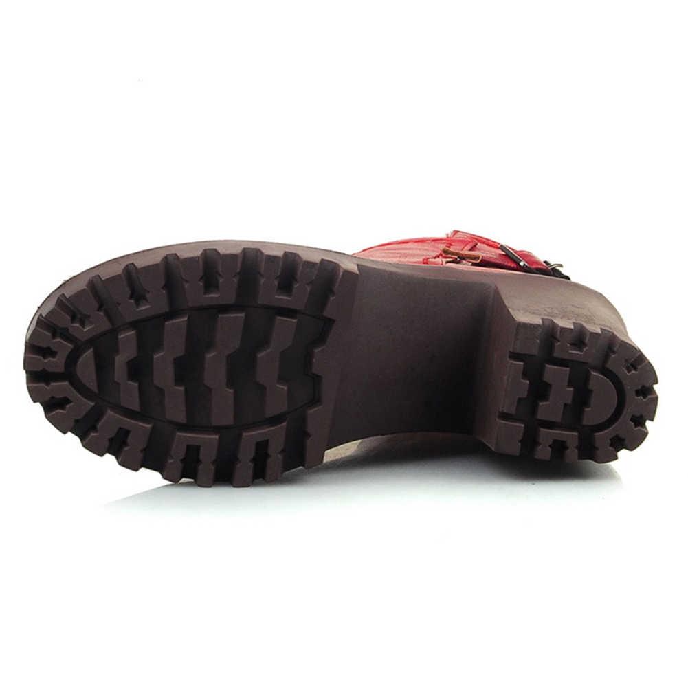 Retro รถจักรยานยนต์รองเท้าผู้หญิงแพลตฟอร์มสแควร์รองเท้าส้นสูง Zipper ข้อเท้ารองเท้าผู้หญิงรองเท้าผู้หญิงขนาดใหญ่ 32-43