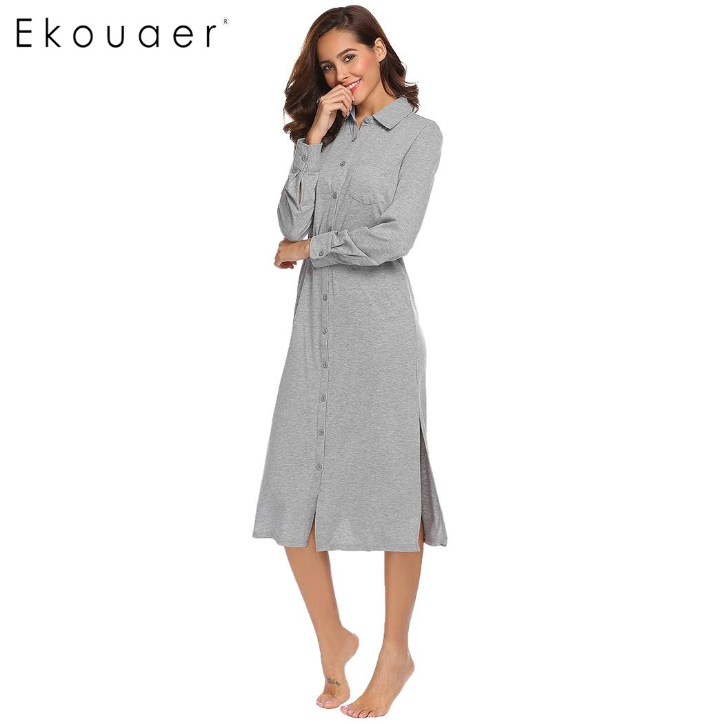 Ekouaer Sleepwear Women Nightdress Solid Long Sleeve Nighties Lounge Sleepwear Midi Shirt Dress Nightshirt Homewear Nighty Dress