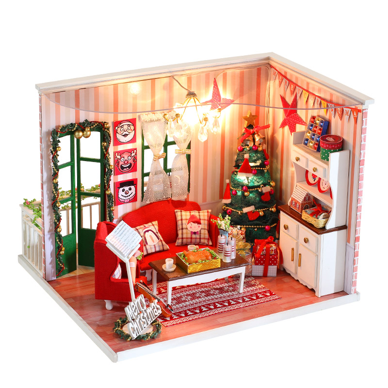 DIY Dollhouse With Furnitures 3D Wooden Handmade Assembly Model Doll House Toys Gift For Children Merry Christmas CF04 #E