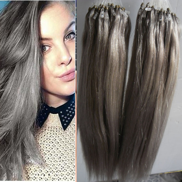 New Silver Grey Micro Loop Hair Extensions 200g Micro Bead Hair