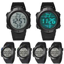 HONHX водонепроницаемые мужские часы для мальчиков с ЖК-дисплеем, цифровой секундомер, дата, резиновые спортивные наручные часы, многофункциональные мужские часы Saat