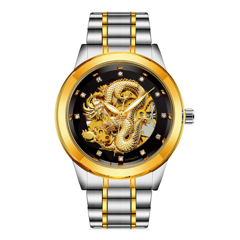 Luxury Automatic Mechanical Wristwatches Gold Dragon Genuine Stainless Golden Men's Watch Waterproof relogio masculino Gift 2018 2017 new sale mechanical man watch relogio masculino gold white watchband automatic date week movt waterproof mans wristwatches