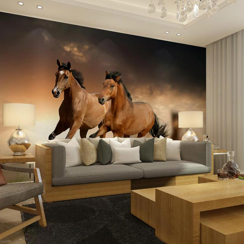 Home decor Wall papers horse photo mural wallpaper living room bedroom kids  room papel de parede  self adhesive vinyl optional  in Wallpapers from Home. Home decor Wall papers horse photo mural wallpaper living room