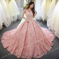 vinca sunny 2017  sleeveless pink wedding dresses lace applique floor length vestidos longos luxury princess wedding dress