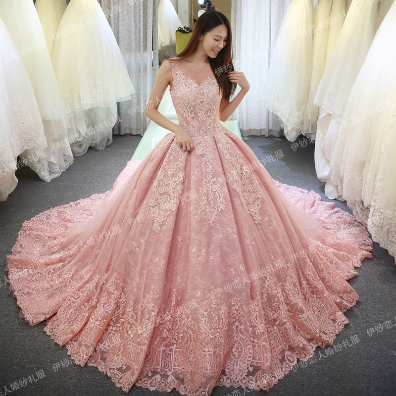 Pink White Princess Wedding Dresses: Vinca Sunny 2018 Sleeveless Pink Wedding Dresses Lace