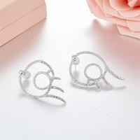 [MeiBaPJ]Fashion Simple Personality AAA Zircon Eyelash Stud Earrings Genuine 925 Sterling Silver Earrings For Women