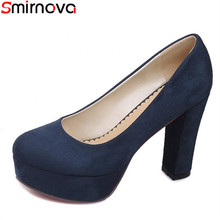 Smirnova moda Primavera Verano nueva llegada punta redonda mujeres bombas  gruesas tacones altos color sólido sexy zapatos de nov. 6ebfa9fd336c