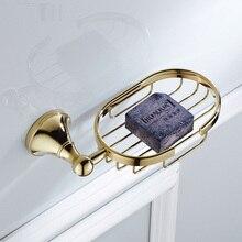 Soap Dishes Golden Finish Brass Decorative Basket Dish Holder Bathroom Accessories ZD873