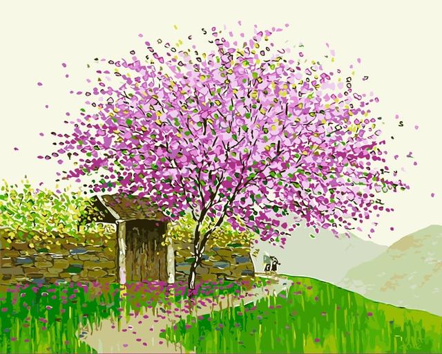 Colorful Musim Semi Pohon Rumput Landscape Gambar Lukisan Minyak