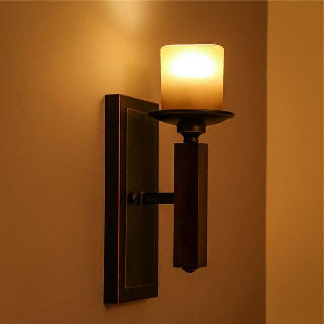 American Retro Iron Led Wall Lamp Lustre Glass Corridor Led Wall Lights Led Wall Lighting Light Loft Luminaria Fixtures Lamparas