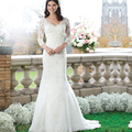 Three Quarter Sleeve V Neck Lace Applique Wedding Dresses Mermaid vestido de novia sirena robe mariage 2017 Custom Made
