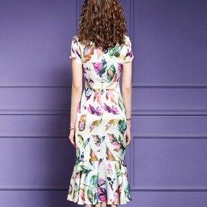 Image 2 - 2019 baskı Lüks Tasarımcı sonbahar elbise Kadın seksi mermaid Parti Elbise Artı Boyutu Ofis Bayan kısa kollu yaz Çiçek elbiseler