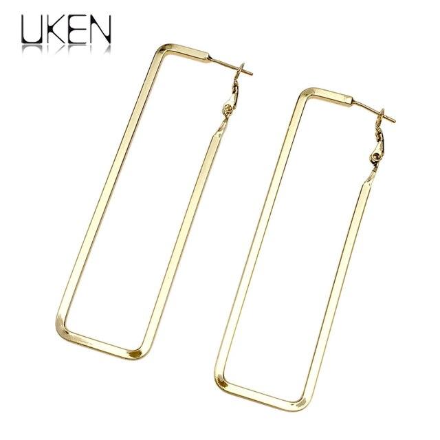 UKEN Unique Design Metal Big Hoop Earrings For Women Punk Rectangle Earring  Collier Statement Jewelry Brincos 755c3cfe927b