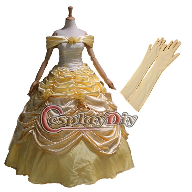 Cosplaydiy משלוח חינם התאמה אישית Deluxe בל השמלה הנסיכה מן היופי והחיה הנסיכה החיה