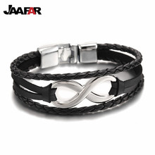 2016 New Fashion Rope leather Infinity Bracelets vintage men Jewelry pulseira masculina bohemian charm bijoux factory Wholesale