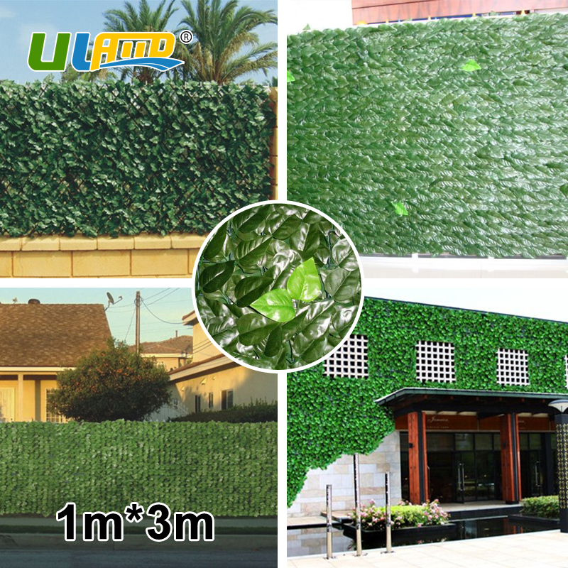 ULAND High Quality Artificial Boxwood Mats 4pcs 100cm*300cm No-recycled Plastic Hedge Privacy G0602B014A uland 6pcs 50cm 50cm artificial photinia hedge bicolor boxwood mat g0602a016 st3