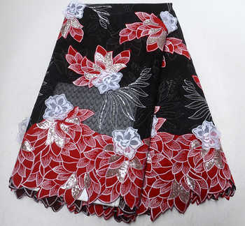 Fashion African Lace Fabric Black and red Lace Nigerian Lace Fabric 2019 High Quality Tulle Lace With paillette 5 Yards - DISCOUNT ITEM  28% OFF All Category