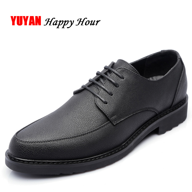 New 2019 Genuine Leather Shoes Men Fashion Oxfords Footwear High Quality Brand Men's Casual Shoes Black Brown K130