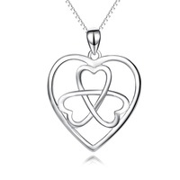 PYX0171 100 Real Pure 925 Sterling Silver Love Heart Celtic Knot Pendant Necklace Jewelry Fasion Romantic