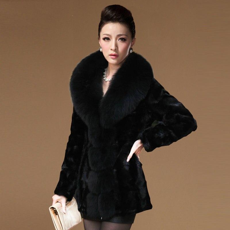 Натуральный норки Мех животных Пальто для будущих мам верхняя одежда для женщин; Большие Размеры M-7XL большой Лисий меховой воротник элегант...
