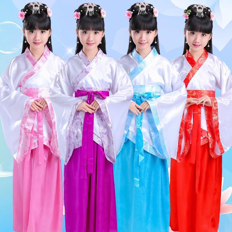 Children Traditional Chinese Dance Costumes Kid Hanfu Dress Girls Ancient Chinese Costume Women Tang China Women Clothing DN2130