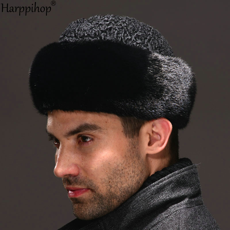 Real Genuine Mink With Wool Hat Winter Russian Men's Warm Caps Whole Piece Mink Sheep Fur Hats