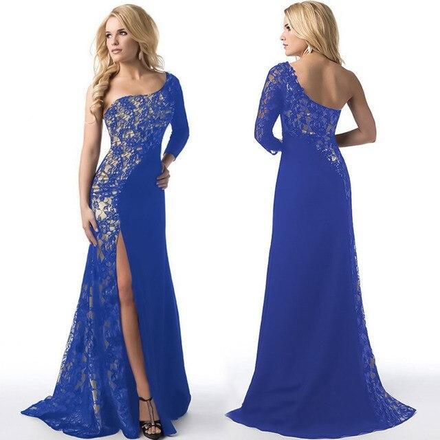 Lange sexy frauen kleider schulter lange maxi dress navy blau spitze ...