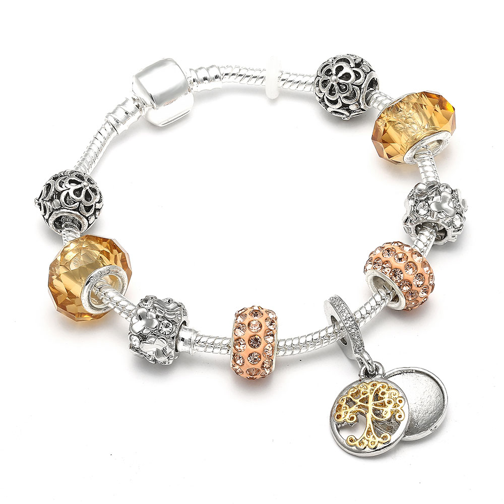 Vintage Silver Color Charm Bracelet With Tree Of Life Pendant & Gold Crystal Ball Brand Bracelet Dropshipping