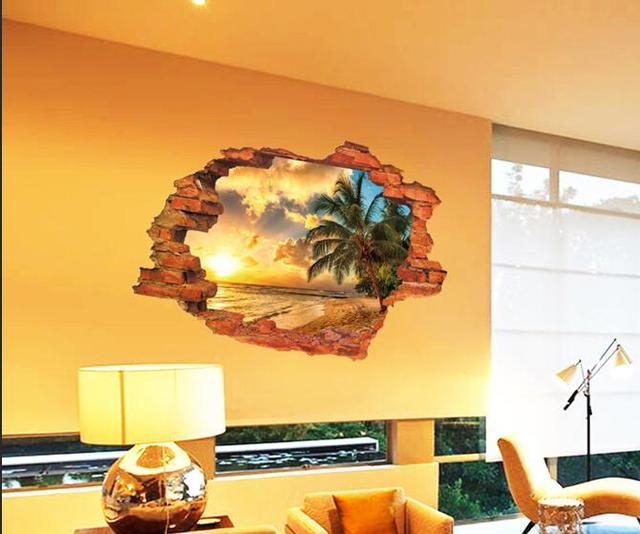 Sunset Scenery of ropical beach 3D DIY Wall Sticker Nursery Kids ...