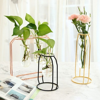 Affordable Lluxury 1Set Nordic Style Glass Iron Art Vase Rose Gold Ceometric Shape Flowerpot Home Wedding Decoration Accessories 1