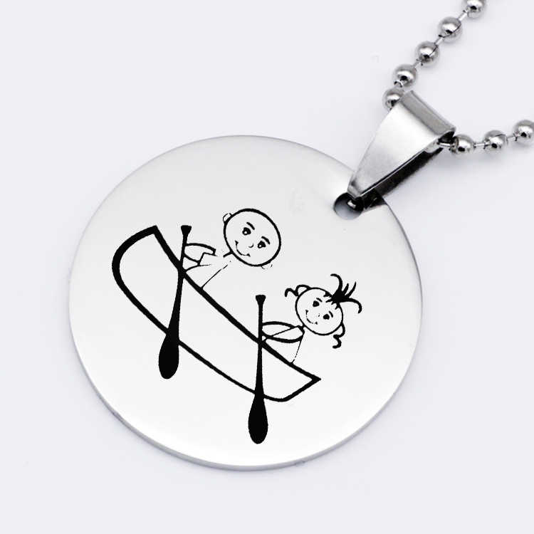 Creativity Stainless Steel Jewelry Disc Pendant Handmade Beads Chain Baby Boating Necklace Best Gift For Men And Women YP6724