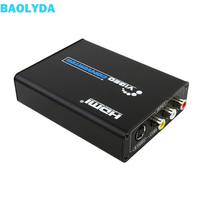 Baolyda 3RCA AV CVBS Composite & S Video R/L Audio to HDMI Converter Adapter Support 720P/1080P for NES SNES N64 PS2 PS3 HDTV