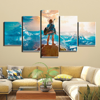 Wall Art  5 Pieces Canvas Painting the Legend Zelda Poster Vikings Pictures Home Decor Living Room HD Printed Game