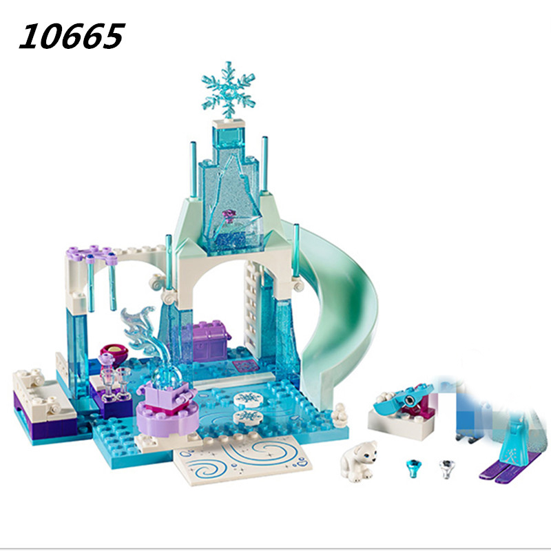 10665 Girl Friends Princess Snow Queen Anna Elsa's Sparkling Ice Castle Anna Elsa Building Blocks DIY Bricks Toys for Children new 37008 561pcs girl friends princess anna and the princess castle building kit blocks bricks toys for children gift brinquedos