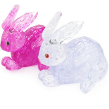 Torvi Cube T  Children's Educational Animal 3D Jigsaw Toys Blue/Pink Rabbit Crystal Puzzle Toy DIY Puzzles For Kids / Adults