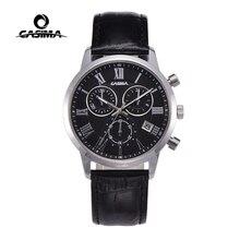 Relogio Masculino CASIMA zegarek kwarcowy mężczyźni Top marka luksusowy zegarek na rękę mężczyzna zegar z kalendarzem skórzane godziny biznesowe Montre Homme