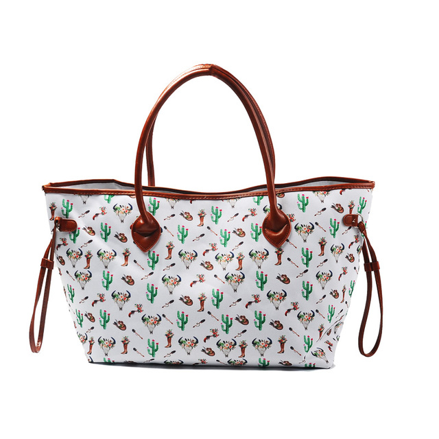 bullskull cactus arrows printing women handbag large tote bag canvas