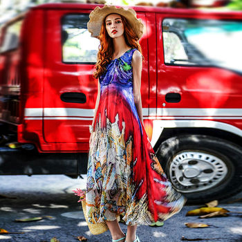 Women Silk dress Bohemian long dress 100% Natural Silk Print Beach dress summer Off shoulder 2