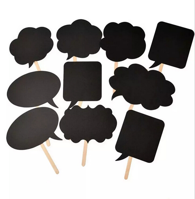 10pcs Lot Photo Booth Prop Thought Bubble Wedding Decoration Birthday Party Black Card Board Chalkboard