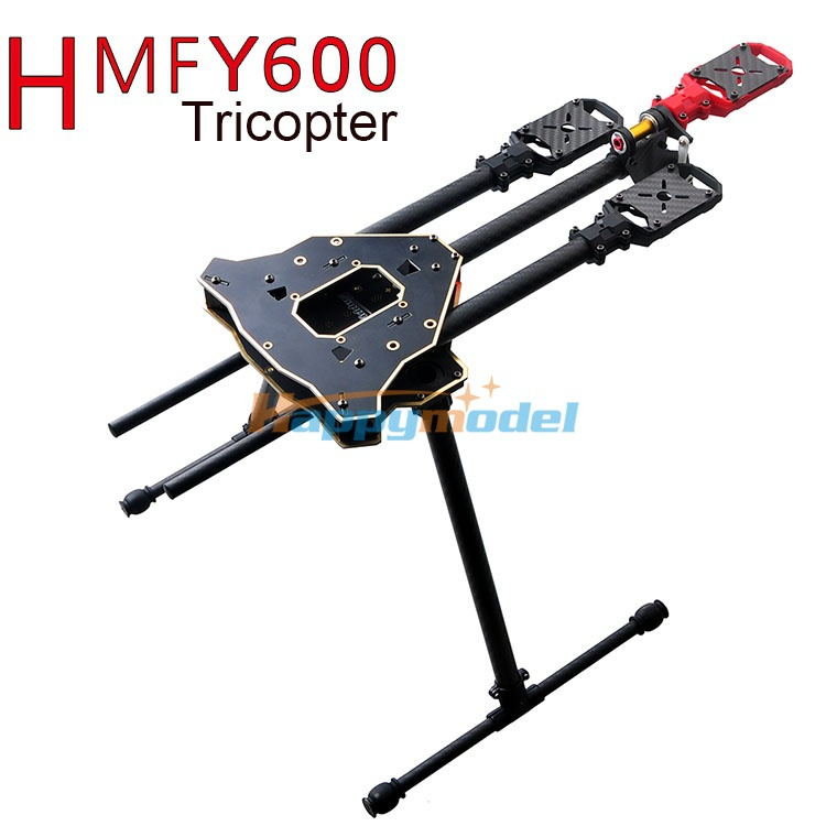 HMF Y600 Tricopter 3-Axis Copter FPV Frame w/ High Landing Gear & Gimbal Hanging Rod PCB Center Board, Carbon Fiber Tube f10811 hmf y600 tricopter 3 axle copter frame kit w high landing gear & gimbal hanging rod fpv rc drone y3