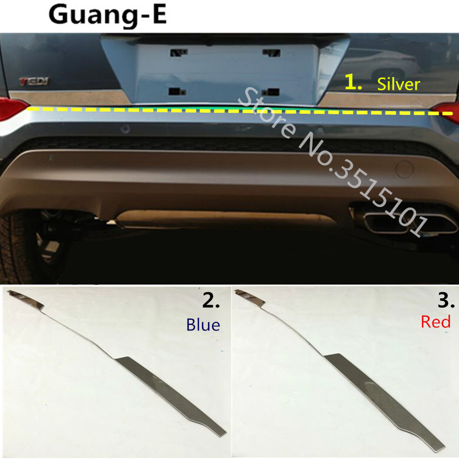 Car Styling Stick stainless steel Rear door tailgate bumper frame plate trim lamp trunk Lid For Hyundai Tucson 2015 2016 2017 цена