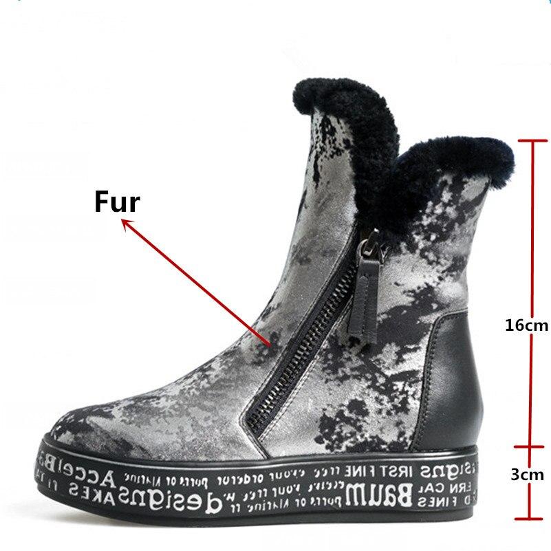 FEDONAS Top qualité mode femmes peau de mouton laine hiver chaud en cuir véritable bottes de neige chaussures femme plate forme fourrure bottines - 2