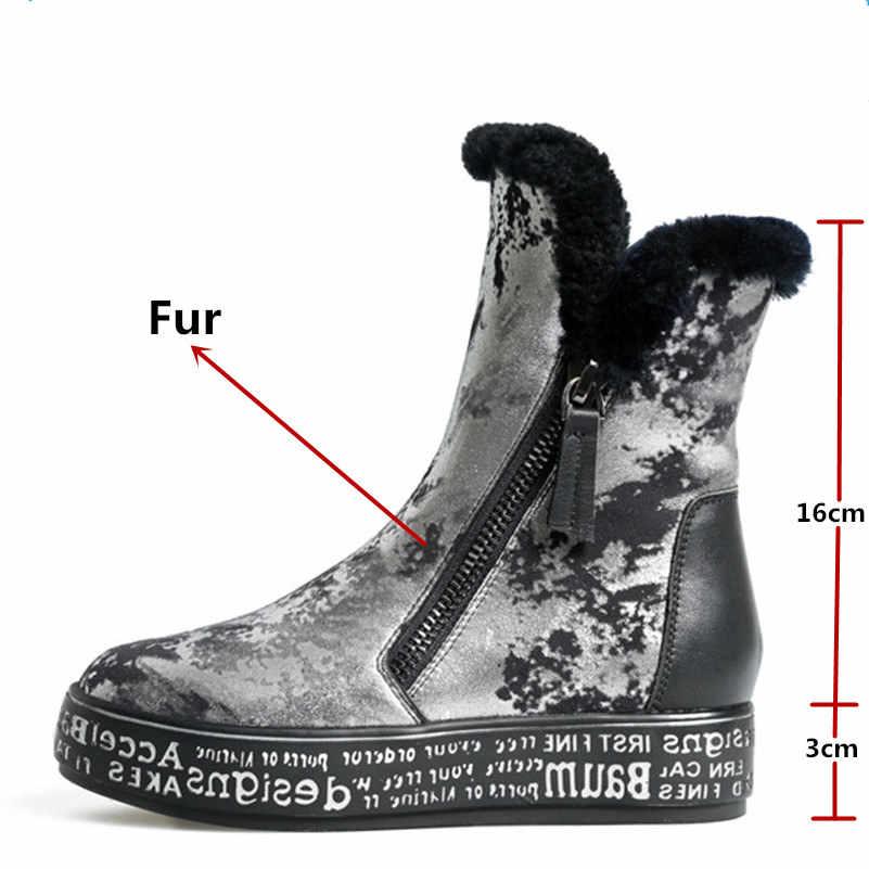 FEDONAS en kaliteli moda kadın Shearling yün kış sıcak hakiki deri kar botları ayakkabı kadın platformu kürk yarım çizmeler