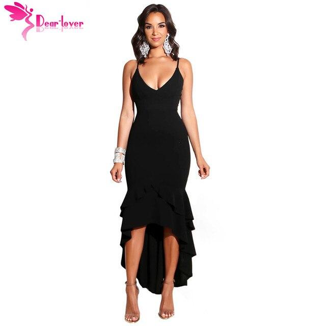 Dear Lover Sexy Party Gown Women V-neck Black Ruffled Dip Layered Hem  Spaghetti Strap Maxi Dress Vestido de Festa Longo LC610471 aa260e5c9065