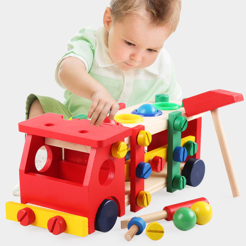 Children Knock Screwing Block Disassembly Screw Car Intelligence Assembed Nut Combination Baby Early Education Puzzle Wooden Toy