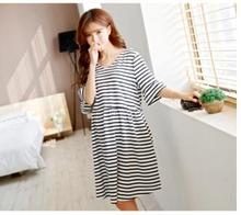 Summer Maternity Clothing Cotton Bubble Short Sleeve Stripped Dress For Pregnant Women Big Size V-Neck Sashes Pregnancy Clothes